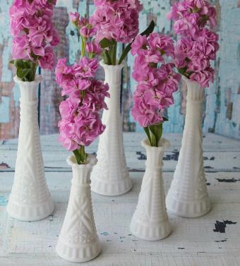 Vintage Milk Glass Bud Vases with Pink Flowers
