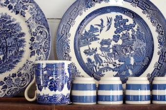 Blue chinaware on old dresser