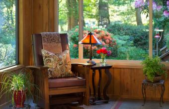 Chair and Lamp with Garden View