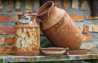 Rusty old milk canister