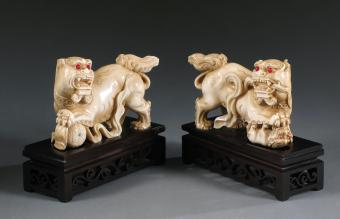 Pair chinese ivory foo lions