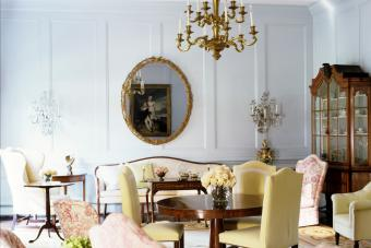 Georgian Style Mirror In a Living Room with Brass Chandelier