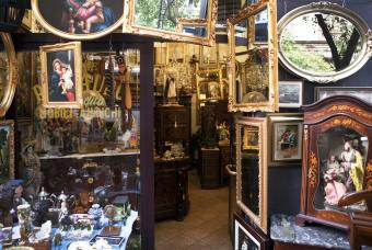 Antique store with old furniture and mirrors
