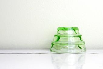 Vintage green depression glass mold
