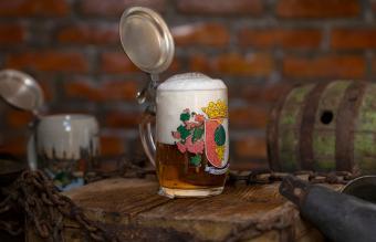 Glass German beer stein