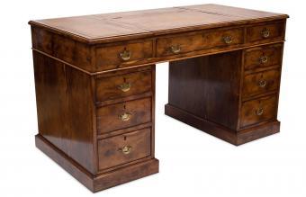 Antique nine-drawer pedestal desk