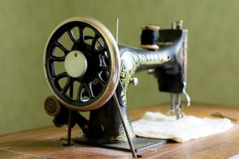 Vintage black and golden sewing machine