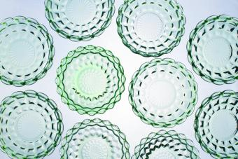 Green Depression glass bowls - Anchor Hocking Waterford pattern