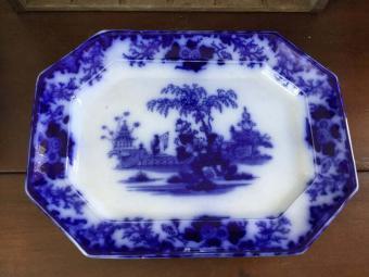 Antique Flow Blue J & G Alcock Scinde Pattern