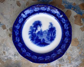 Antique Flow Blue Ironstone Plate Excelsior Pattern
