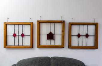 Wooden framed stained glass windows