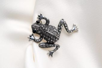 Silver brooch shaped like a frog with small rhinestones