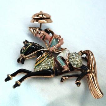 Coro Craft Sterling Persian Horse Man Pin