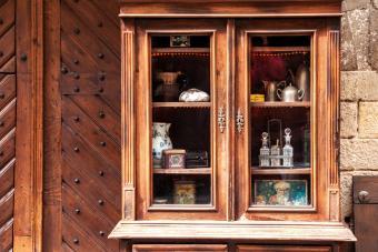 Antique wooden sideboard cabinet