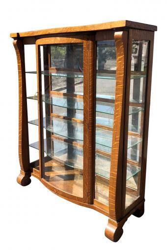 Antique American Empire Quartersawn Oak Mirrored Curio Cabinet Bookcase