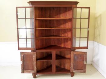 Antique Virginia Chippendale Walnut Corner Cabinet