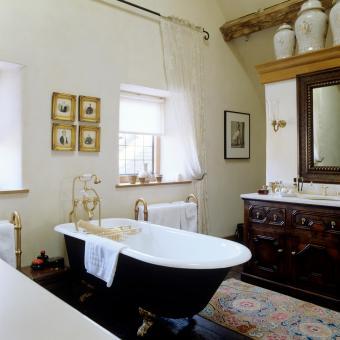 Bathroom with old photos