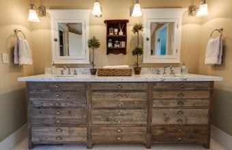 antique rustic cabinet in bathroom