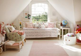 Children's bedroom with vintage textiles