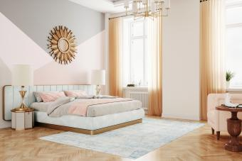 Interior of a luxury retro style bedroom in pink color