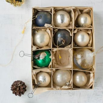 old glass Christmas baubles
