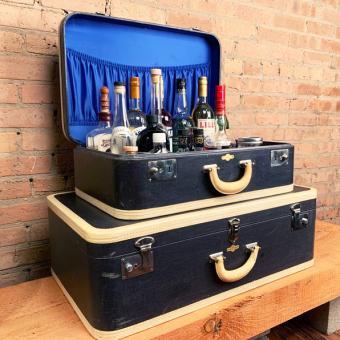 Vintage Upcycled Suitcase Bar
