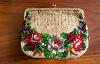 antique micro-beaded purse