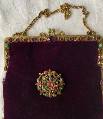 Vintage Wine Velvet Bag with Jeweled Handle