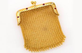 Yellow Gold Mesh Purse