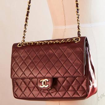1960s Chanel 2.55 Bag Double Flap Burgundy Lamb