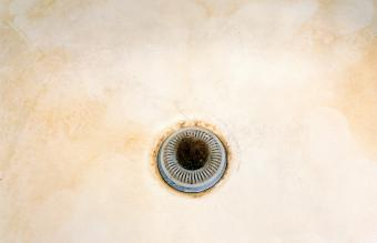 The drain of a bathtub