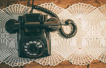 Vintage Landline Phone On Table