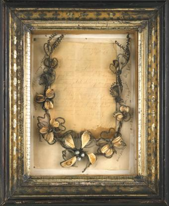 Framed hair wreath with letter from General Robert E Lee