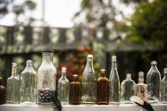 Antique and vintage colored glass medicine bottles