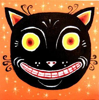 Vintage Art of Halloween cat