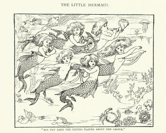 Vintage engraving of The Little Mermaid and her sisters