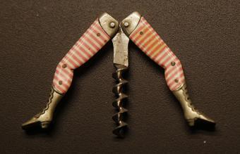 Antique leg corkscrew