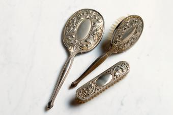 Silver Hairbrush and mirror