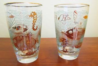 Vintage Libbey Glasses with Fish and Seahorses
