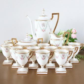 Antique Lenox Coffee Set; 1890s American Belleek Porcelain Tea Set Monogrammed 'N'