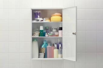 Medicine cabinet with various cosmetics and bath products