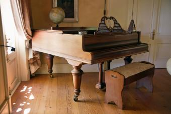 View of piano in living room