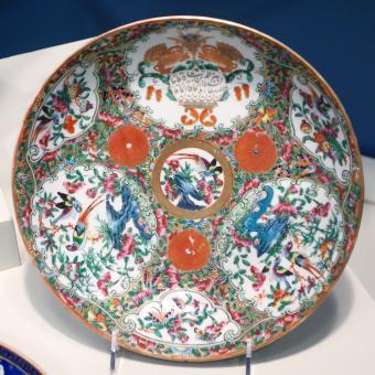 Dish in rose medallion pattern