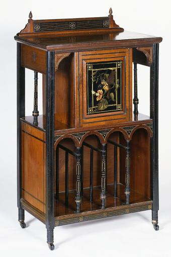 Victorian wood music cabinet