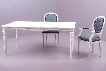 Empty , clean wooden , dining table with two chairs