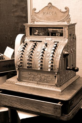 Vintage Cash Register On Desk