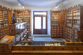 Historical pharmacy cabinets