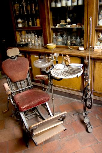 Dentists chair and antique office