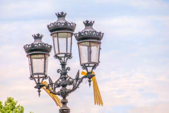 Street Light with Yellow Ribbons