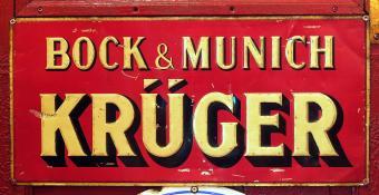 Bock & Munich Krüger, old metal advertising sign